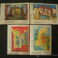 Sellos: PORTUGAL 1977 IVERT 1364/7 *** NAVIDAD - DIBUJOS INFANTILES. Lote 27538792