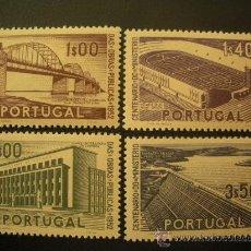 Sellos: PORTUGAL 1952 IVERT 766/9 * CENTENARIO DEL MINISTERIO DE OBRAS PUBLICAS - MONUMENTOS . Lote 27821769