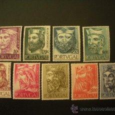 Sellos: PORTUGAL 1955 IVERT 817/26 *** REYES DE LA DINASTÍA ALFONSINA - MONARQUIA - PERSONAJES . Lote 27822311
