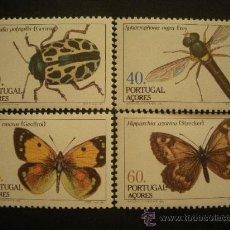 Sellos: PORTUGAL AZORES 1985 IVERT 358/61 *** FAUNA - INSECTOS Y MARIPOSAS (II). Lote 30725978