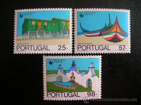 PORTUGAL 1987 IVERT 1687/9 *** 75º ANIVERSARIO INSTITUCIONALIZACION DEL TURISMO - ARQUITECTURA (Sellos - Extranjero - Europa - Portugal)