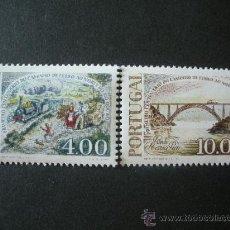 Sellos: PORTUGAL 1977 IVERT 1356/7 *** CENTENARIO DEL FERROCARRIL - TRENES. Lote 58257542