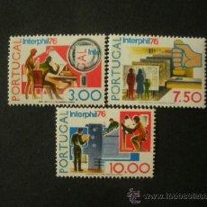 Sellos: PORTUGAL 1976 IVERT 1293/5 *** EXPOSICIÓN FILATELICA INTERNACIONAL - INTERPHIL-76 . Lote 37355650