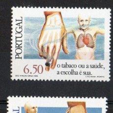 Sellos: PORTUGAL AÑO 1980 YV 1490/91*** CAMPAÑA ANTITABACO - SALUD - MEDICINA - MANOS. Lote 37876140