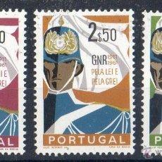 Sellos: PORTUGAL AÑO 1962 YV 891/93*** 50º ANIVERSARIO DE LA GUARDIA NACIONAL REPUBLICANA - UNIFORMES. Lote 39380904