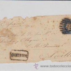 Sellos: FRONTAL DE CARTA DE PORTUGAL A SEVILLA,CON SELLO 25 REIS Y MARCADOR CANINHA.. Lote 39598297