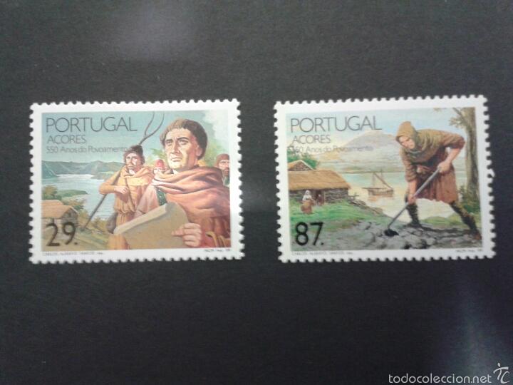 SELLOS DE AZORES (PORTUGAL). AGRICULTURA. DESCUBRIMIENTO AMÉRICA. YT 393/4. CTA NUEVA SIN CHARNELA. (Sellos - Extranjero - Europa - Portugal)