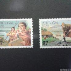 Sellos: SELLOS DE AZORES (PORTUGAL). AGRICULTURA. DESCUBRIMIENTO AMÉRICA. YT 393/4. CTA NUEVA SIN CHARNELA.. Lote 52740216