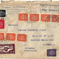 Sellos: PORTUGAL 1945. CARTA VOLADA DESDE ESTORIL A CALI (COLOMBIA) CON SOBRE FRANCÉS VIA LISBOA.. Lote 87455736