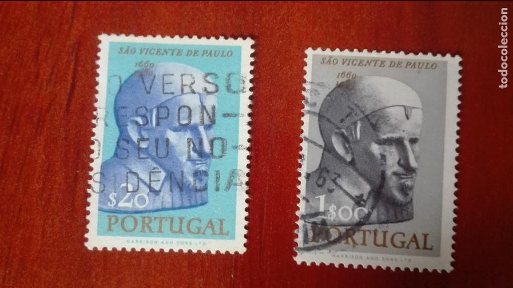 PORTUGAL 3 CENTENARIO MUERTE SAN VICENTE DE PAUL USADOS (Sellos - Extranjero - Europa - Portugal)