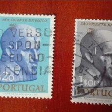 Sellos: PORTUGAL 3 CENTENARIO MUERTE SAN VICENTE DE PAUL USADOS. Lote 90343180