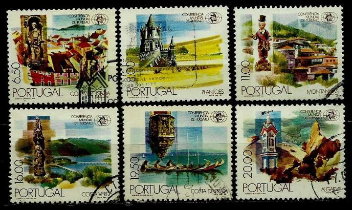 PORTUGAL 1980- YV 1476/81 AFI 1474/79 (CONFERENCIA MUNDIAL DE TURISMO) (SERIE USADA (Sellos - Extranjero - Europa - Portugal)