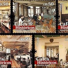 Sellos: PORTUGAL 2017 - HISTORIC CAFES II STAMP SET MNH. Lote 110247684