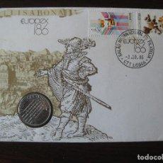 Sellos: SOBRE CON SELLO Y MONEDA CONMEMORATIVO DEL SALON INTERNACIONAL DE FILATELIA. LISABONA EUROPEX 86. Lote 109039395