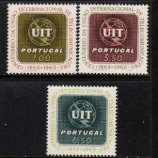 Sellos: PORTUGAL 963/65** - AÑO 1965 - CENTENARIO DE LA UNION INTERNACIONAL DE TELECOMUNICACIONES. Lote 156514278