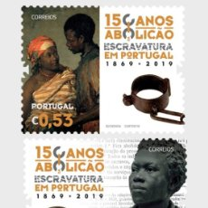 Sellos: PORTUGAL 2019 - 150 YEARS OF THE ABOLITION OF SLAVERY IN PORTUGAL STAMP SET MNH. Lote 156809302
