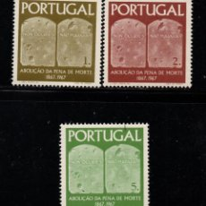 Sellos: PORTUGAL 1027/29** - AÑO 1967 - CENTENARIO DE LA ABOLICION DE LA PENA DE MUERTE. Lote 158554766