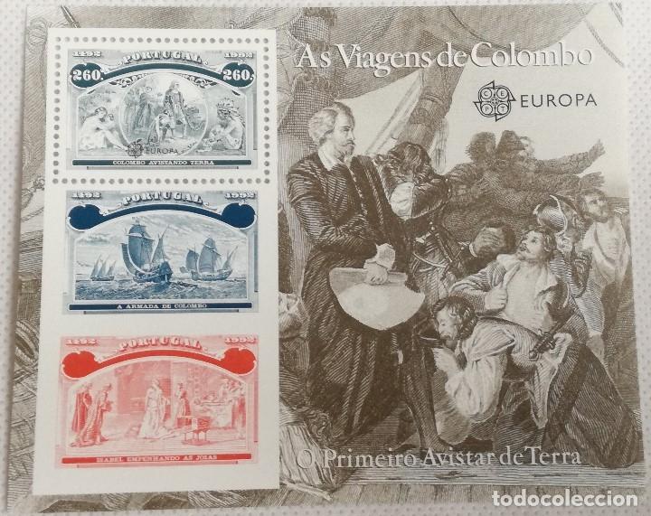 HOJA BLOQUE. 1992. VIAJES DE CRISTÓBAL COLÓN. RODRIGO DE TRIANA. DESCUBRIMIENTO DE AMÉRICA. PORTUGAL (Sellos - Extranjero - Europa - Portugal)
