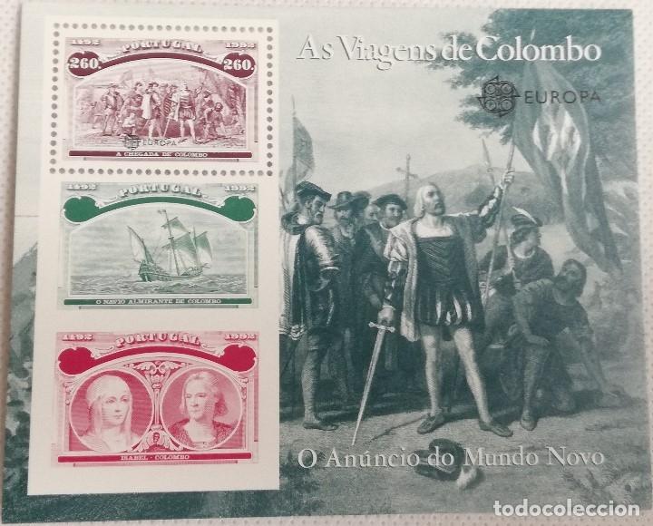HOJA BLOQUE. 1992. VIAJES DE CRISTÓBAL COLÓN. REYES CATÓLICOS, ISABEL LA CATÓLICA, DESCUBRIMIENTO (Sellos - Extranjero - Europa - Portugal)