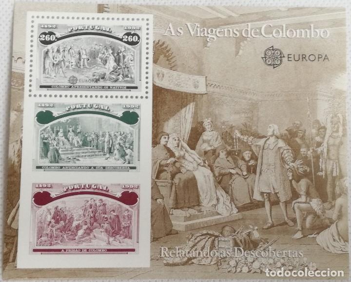 HOJA BLOQUE. 1992. VIAJES DE CRISTÓBAL COLÓN. REYES CATÓLICOS, ISABEL Y FERNANDO, BARCELONA, PRIMER (Sellos - Extranjero - Europa - Portugal)