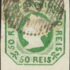 Sellos: PORTUGAL. º3. 1853. 50 REIS VERDE. MATASELLO NUMERAL 121, DE LAMEGO. MAGNIFICO Y RARO. YVERT 2012. Lote 183165643
