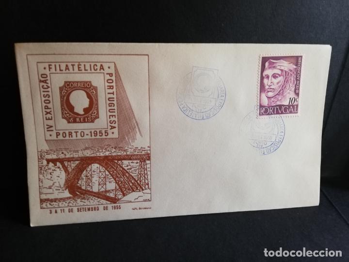 SOBRE PRIMER DIA. PORTUGAL. IV EXPOSIÇÄO. FILATELICA PORTUGUESA. PORTO. 1955. (Sellos - Extranjero - Europa - Portugal)