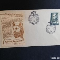 Sellos: SOBRE PRIMER DIA. PORTUGAL. DOM SANCHO I, O POVOADOR. REIS DE PORTUGAL 1ª DINASTIA. 1955.. Lote 186142448