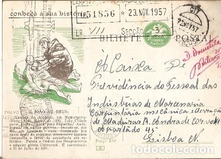 PORTUGAL & CONOZCA SU HISTORIA, SÃO JOÃO DE DEUS, VILA VIÇOSA A LISBOA 1957 (1688) (Sellos - Extranjero - Europa - Portugal)