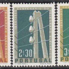 Sellos: PORTUGAL, 1955 YVERT Nº 826 / 828 /**/, TELÉGRAFO ELÉCTRICO EN PORTUGAL. Lote 199741048