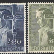 Sellos: PORTUGAL, 1955 YVERT Nº 813 / 816 /*/, MANUEL DA NÓBREGA, JESUITA, FUNDADOR DE SÃO PAULO. Lote 199748362