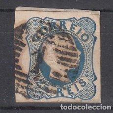 Sellos: PORTUGAL 11 USADA, DON PEDRO V, CABEZA EN RELIEVE, PELO RIZADO, FRAGMENTO MARGEN TOCADO. Lote 200845386