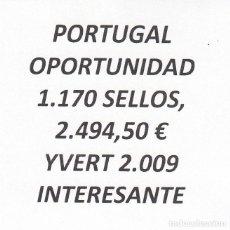 Sellos: INTERESANTE LOTE PORTUGAL, COMPUESTO POR 1.170 SELLOS, CON 2.494,50 € CATALOGO YVERT 2.009+. Lote 202803472