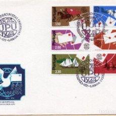 Sellos: SOBRE 1R DIA CENTENARIO UPU 1974, PORTUGAL, MICHEL 1248-1253. Lote 213528513