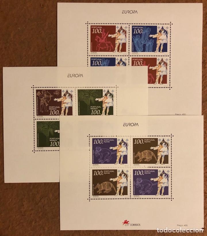 SELLOS 3 HOJITAS PORTUGAL (1995) EUROPA Y LOS DESCUBRIMIENTOS. (Sellos - Extranjero - Europa - Portugal)