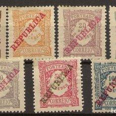 Sellos: PORTUGAL YVERT 14/20* MH TASAS SERIE COMPLETA RECARGADOS REPÚBLICA 1910 NL1647. Lote 221886956
