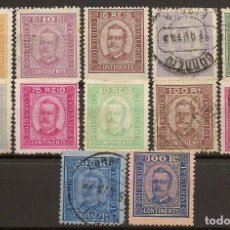 Sellos: PORTUGAL YVERT 66/77*/ (º) SERIE COMPLETA CARLOS I 1892/1893 NL1095. Lote 222437527