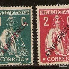 "Sellos: PORTUGAL YVERT 222/223* MH SERIE COMPLETA SOBRECARGA ""ASSISTENCIA"" 1912 NL927. Lote 222736740"