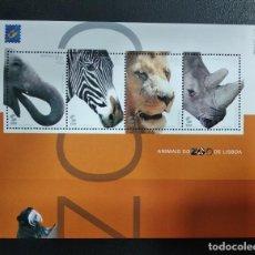 Sellos: HOJA BLOQUE PORTUGAL AÑO 2001 ANIMALES DEL ZOO DE LISBOA. Lote 227987485