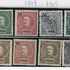 Sellos: LOTE DE SELLOS PORTUGUESES. HORTA Y ANGRA. VALOR REIS. DESDE 1898 - 1905. VER FOTOS. SOBRECARGA. Lote 234837185