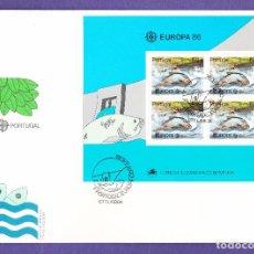 Sellos: SOBRE PRIMER DÍA EUROPA 86 PORTUGAL CTT LISBOA CON BLOQUE DE 4. Lote 237348655