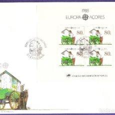 Sellos: SOBRE PRIMER DÍA EUROPA 1988 AÇORES PORTUGAL CTT P. DELGADA CON BLOQUE DE 4. Lote 238099100