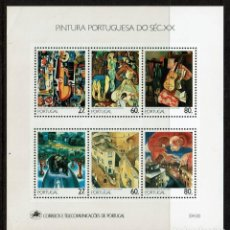 Sellos: JUEGO DE HOJAS BLOQUE DE PINTURA PORTUGUESA DEL SIGLO XX 1988. Lote 239443100