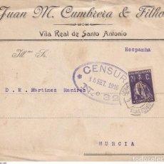 Sellos: LOTE 7 CARTAS 1916-1946 PORTUGAL A MURCIA. CENSURAS, CORREO RODINARIO Y CERTIFICADO. HISTORIA POSTAL. Lote 262577335