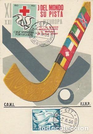 PORTUGAL & MAXI, CAMPEONATO DEL MUNDO DE HOCKEY PATINES, PALACIO DE DEPORTES, PORTO-MILÁN 1955-1956 (Sellos - Extranjero - Europa - Portugal)