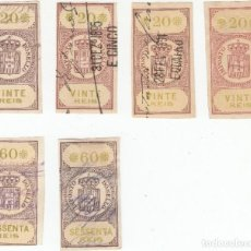 Sellos: IMPOSTO DO SELLO 6 SELLLOS 20 Y 60 REIS FINALES DEL SIGLO XX PORTUGAL. Lote 267512619