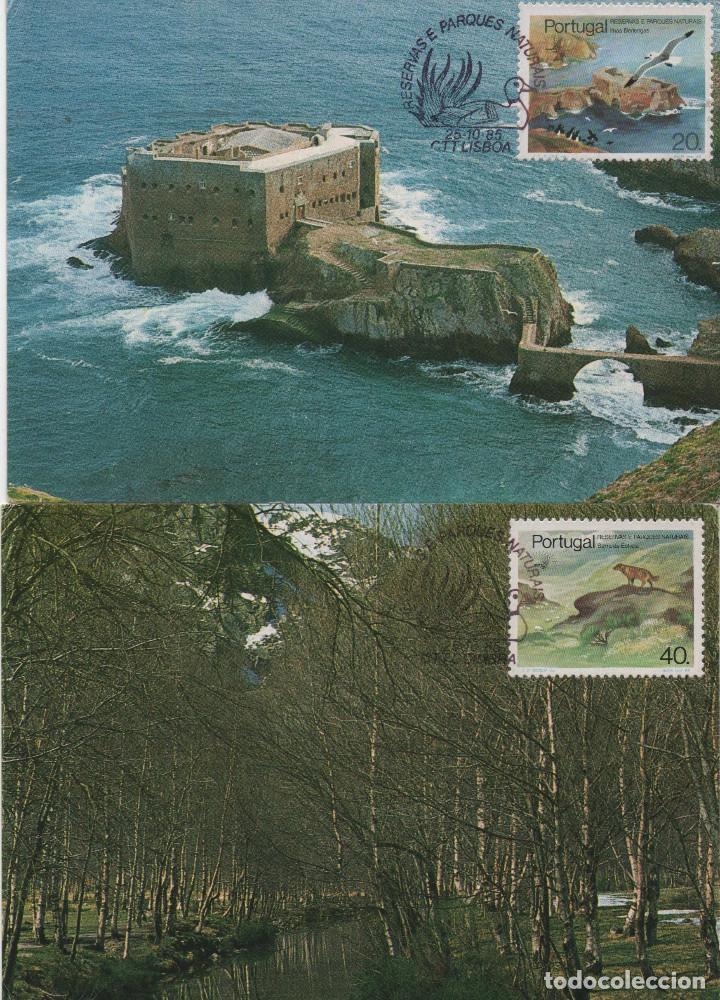 SERIE COMPLETA DE PORTUGAL DE 1985 EN TARJETAS TIPO MÁXIMAS. TEMA: PARQUES NATURALES (Sellos - Extranjero - Europa - Portugal)