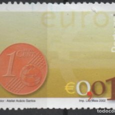 Sellos: PORTUGAL 2002 MONEDA EURO 0,01 SELLO USADO * LEER DESCRIPCION. Lote 279518993