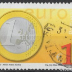 Sellos: PORTUGAL 2002 MONEDA EURO 1,00 SELLO USADO * LEER DESCRIPCION. Lote 279519158