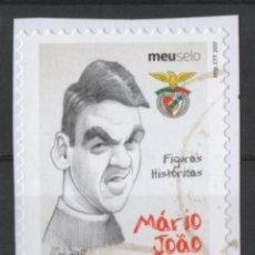 Sellos: PORTUGAL BENFICA CARICATURA JUGADOR FUTBOL MARIO JOAO AUTOADHESIVO USADO * LEER DESCRIPCION. Lote 279519908