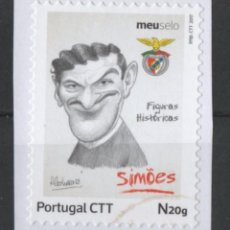 Sellos: PORTUGAL BENFICA CARICATURA JUGADOR FUTBOL SIMOES AUTOADHESIVO USADO * LEER DESCRIPCION. Lote 279520003